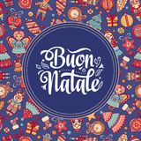Buon Natale. Christmas template. Greeting card. Winter holiday in Italy. Congratulation on Italian. Vintage style Stock Photo