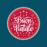 Buon Natale. Christmas template. Greeting card. Winter holiday in Italy. Congratulation on Italian. Vintage style Royalty Free Stock Photography
