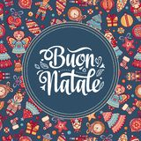 Buon Natale. Christmas template. Greeting card. Winter holiday in Italy. Congratulation on Italian. Vintage style Stock Image