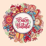 Buon Natale. Christmas template. Greeting card. Winter holiday in Italy. Congratulation on Italian. Vintage style Royalty Free Stock Image