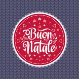 Buon Natale. Christmas template. Greeting card. Winter holiday in Italy. Congratulation on Italian. Vintage style Stock Photography