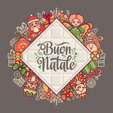 Buon Natale. Christmas template. Greeting card. Winter holiday in Italy. Congratulation on Italian. Vintage style Stock Images