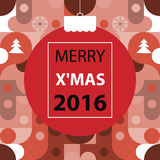 Buon Natale, colore di tono rosso del fondo astratto geometrico Immagine Stock Libera da Diritti