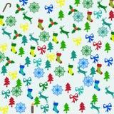 Buon Natale con gli elementi delle decorazioni Fotografia Stock Libera da Diritti