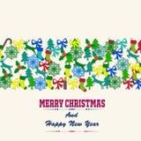 Buon Natale con gli elementi delle decorazioni Fotografia Stock