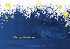 Buon Natale con i lotti dei fiocchi di neve su fondo blu Fotografie Stock