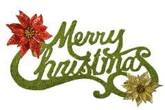 Buon Natale con i pointsettias dell'oro e di colore rosso Fotografia Stock