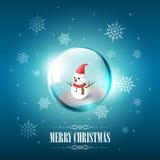 Buon Natale con il pupazzo di neve in bolla e fiocco di neve di vetro della sfera su fondo blu, illustrazione di vettore Immagine Stock Libera da Diritti