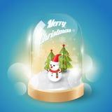 Buon Natale con il pupazzo di neve di Natale in cupola di vetro, vista isometrica, vettore Immagini Stock Libere da Diritti