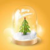 Buon Natale con l'albero di Natale in cupola di vetro, vista isometrica, Fotografie Stock