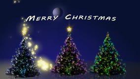 Buon Natale con l'animazione degli alberi illustrazione vettoriale