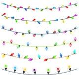 Buon Natale con le luci di Natale d'ardore Colourful Immagini Stock Libere da Diritti