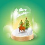 Buon Natale con renna bassa di Natale la poli in cupola di vetro, vista isometrica, vettore Immagine Stock Libera da Diritti
