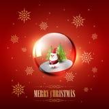 Buon Natale con Santa Claus in bolla e fiocco di neve di vetro della sfera su fondo rosso, illustrazione di vettore Fotografia Stock