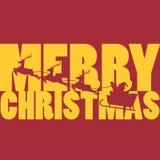 Buon Natale con Santa Claus e la sua slitta della renna Immagini Stock