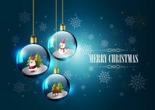 Buon Natale con Santa Claus, il pupazzo di neve e la renna in sfera di vetro Fotografia Stock