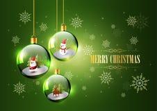 Buon Natale con Santa Claus, il pupazzo di neve e la renna in sfera di vetro Immagine Stock Libera da Diritti