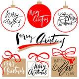Buon Natale d'annata ed insieme di etichette calligrafico del buon anno e tipografico disegnato a mano Elementi delle decorazioni Immagini Stock Libere da Diritti