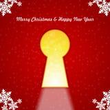 Buon Natale del buco della serratura Immagine Stock