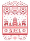 Buon Natale del modello di Natale nel modello senza cuciture norvegese di Dio Yule ispirato dal mestiere festivo di inverno della illustrazione di stock