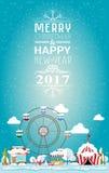 Buon Natale della carta dell'invito e buon anno 2017 sulla fiera illustrazione vettoriale