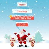 Buon Natale della renna & di Santa Fotografie Stock
