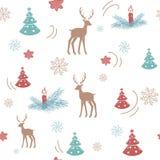 Buon Natale di disegno 2018 verde, braoun rosso dell'illustrazione disegnata a mano su fondo bianco Picchiettio animale di vettor illustrazione di stock