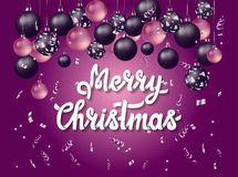 Buon Natale di Handlettering con fondo porpora Fotografia Stock Libera da Diritti