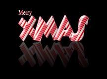 Buon Natale di natale del bastoncino di zucchero con la riflessione Fotografia Stock Libera da Diritti