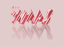 Buon Natale di natale del bastoncino di zucchero con la riflessione Fotografie Stock Libere da Diritti