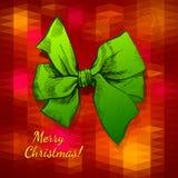 Buon Natale di seta verde dell'arco Fotografia Stock
