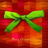 Buon Natale di seta verde dell'arco Immagini Stock Libere da Diritti