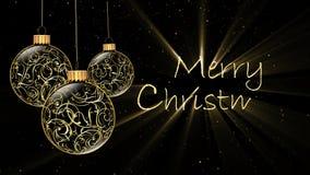 Buon Natale dorato 4K degli ornamenti illustrazione vettoriale