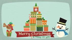 Buon Natale e buon anno con il characte del fumetto del pupazzo di neve immagini stock