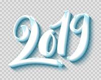 Buon Natale e buon anno 2019 con neve ed i ghiaccioli realistici, vettore illustrazione vettoriale