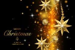 Buon Natale e buon anno Decorazione di scintillio di vettore, polvere dorata immagine stock