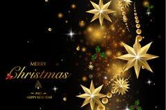 Buon Natale e buon anno Decorazione di scintillio di vettore, polvere dorata fotografie stock libere da diritti