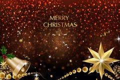 Buon Natale e buon anno Decorazione di scintillio di vettore, polvere dorata immagine stock libera da diritti