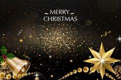 Buon Natale e buon anno Decorazione di scintillio di vettore, polvere dorata fotografia stock libera da diritti