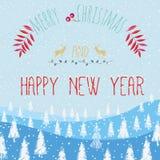 Buon Natale e buon anno di slogan Immagine Stock