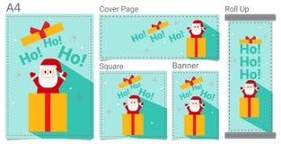 Buon Natale e buon anno fumetto divertente del regalo del nastro e di Santa Claus per l'insegna del sito Web, manifesto, progetta fotografia stock libera da diritti