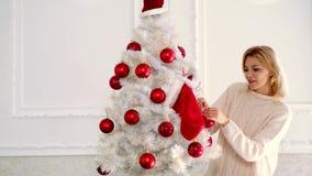 Buon Natale e buon anno La donna felice dell'inverno ha decorato l'albero di Natale Emozione di inverno video d archivio