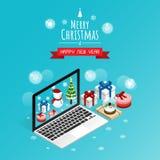 Buon Natale e buon anno online, vettore isometrico dei contenitori di regalo dell'uomo della neve fotografia stock