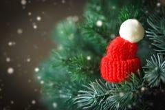 Buon Natale e buon anno Poco cappello tricottato sull'albero di Natale Fondo con lo spazio della copia fotografia stock