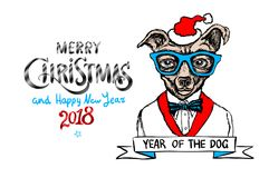 Buon Natale e buon anno rossi 2018 Illustrazione di vettore Il Natale insegue come Santa illustrazione di stock
