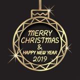 Buon Natale e buon anno 2019 Saluto di celebrazione di festa con l'ornamento dorato della palla illustrazione di stock