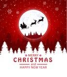 Buon Natale e buon anno Santa Claus nella luna Fondo rosso illustrazione vettoriale
