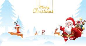 Buon Natale e buon anno Santa Claus sta ondeggiando con un sacco dei regali nella scena e nella renna della neve di Natale Vettor illustrazione vettoriale