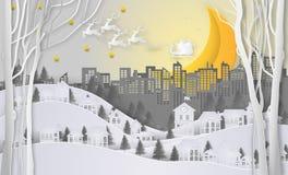 Buon Natale e buon anno Santa Claus sul cielo e sulla m. Immagine Stock