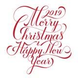 Buon Natale e buon anno testo Modello calligrafico della carta di progettazione di iscrizione Tipografia creativa per la festa immagini stock